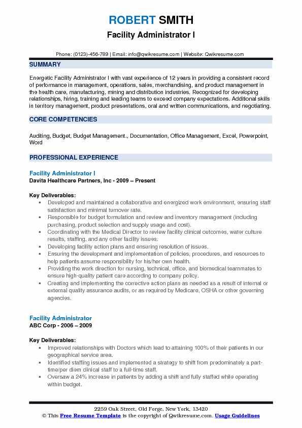 Facility Administrator I Resume Format