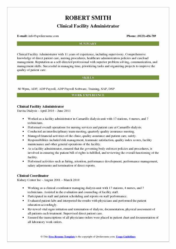 Clinical Facility Administrator Resume Sample