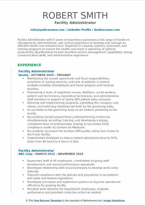 Facility Administrator Resume Sample