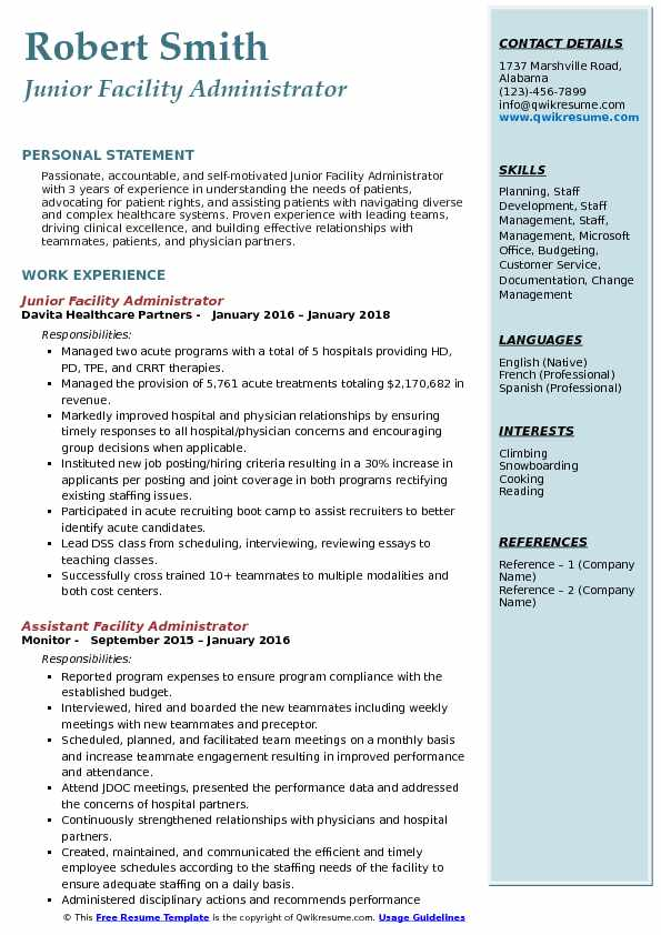 Junior Facility Administrator Resume Example