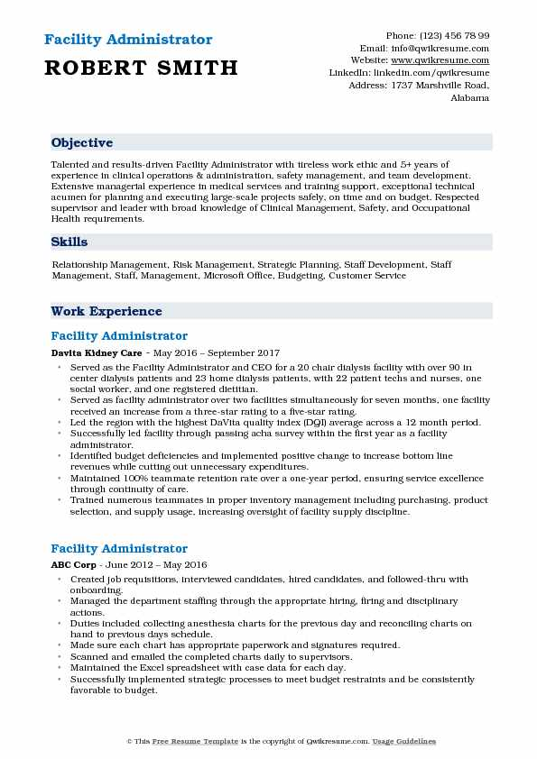 Facility Administrator Resume Example