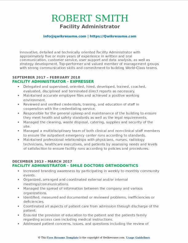 Facility Administrator Resume Model