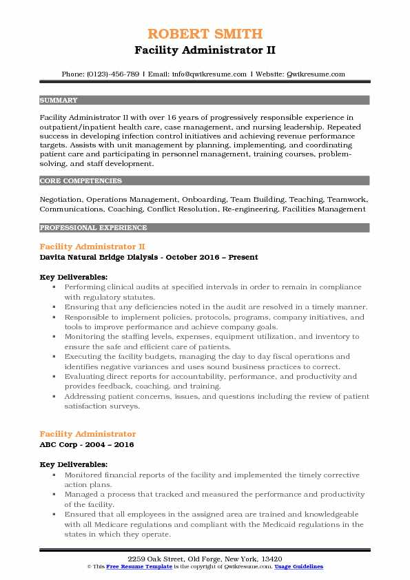 Facility Administrator II Resume Format