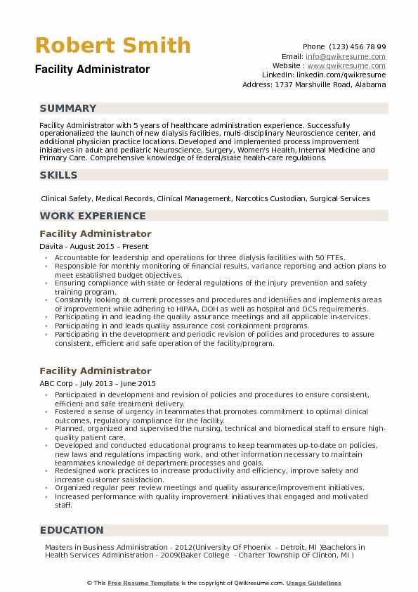 Health Care Administration Resume Examples Facility Administrator Samples Qwikresume