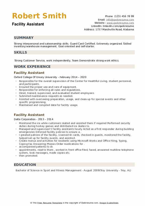 Facility Assistant Resume example