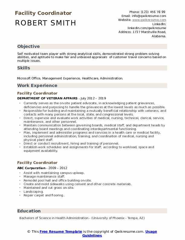 Facility Coordinator Resume Sample