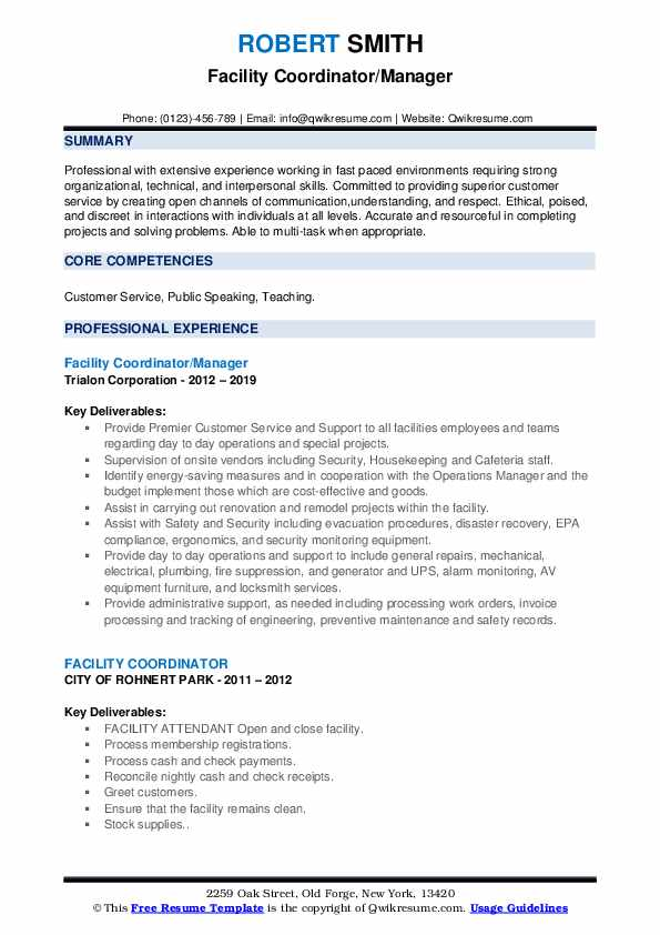 Facility Coordinator/Manager Resume Model