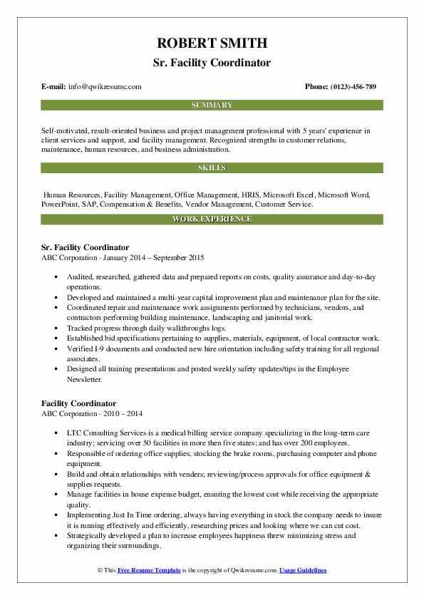 Sr. Facility Coordinator Resume Template