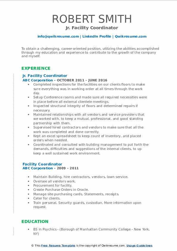 Jr. Facility Coordinator Resume Example