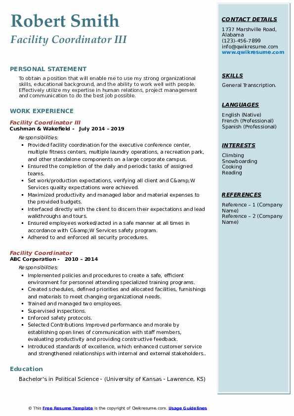 Facility Coordinator III Resume Sample