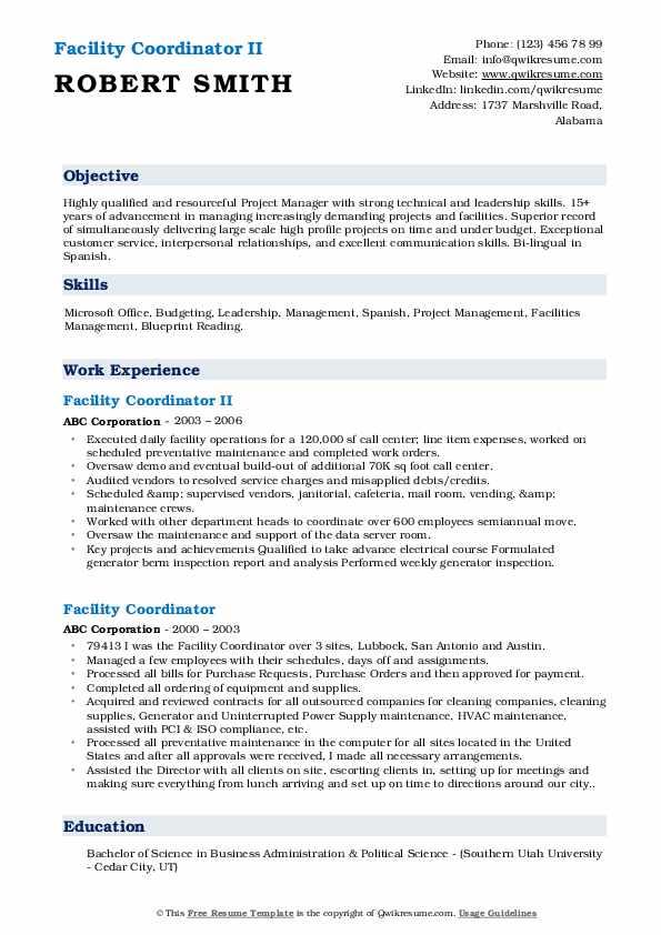 Facility Coordinator II Resume Example