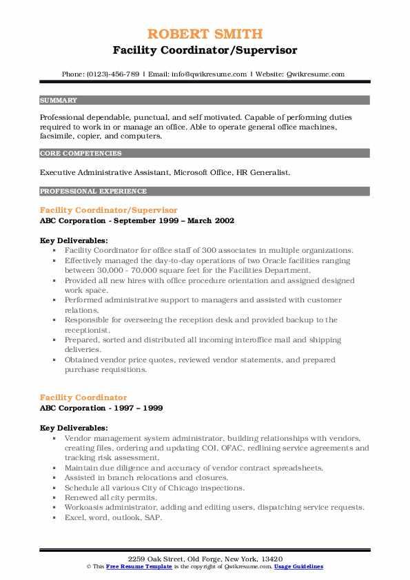 Facility Coordinator/Supervisor Resume Example