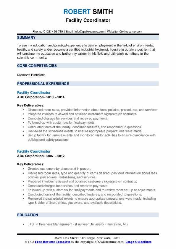 Facility Coordinator Resume example