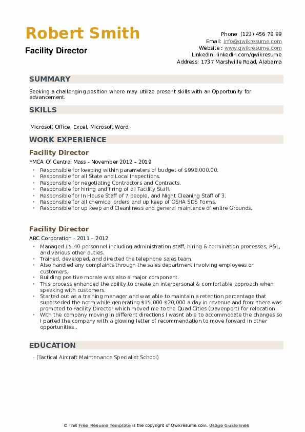Facility Director Resume example