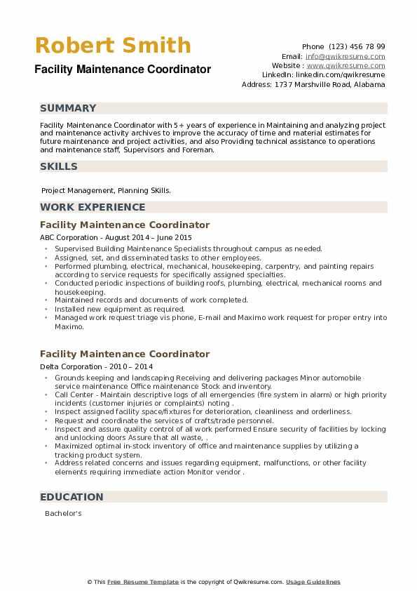 Facility Maintenance Coordinator Resume example