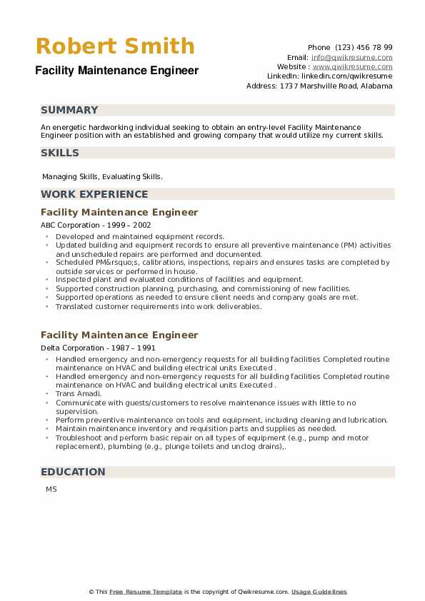 Facility Maintenance Engineer Resume example