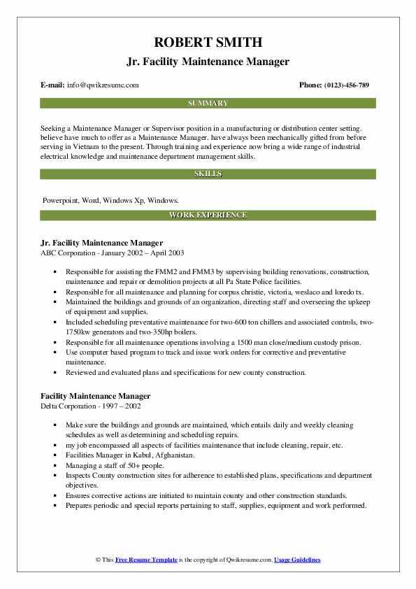 facility maintenance manager resume samples  qwikresume