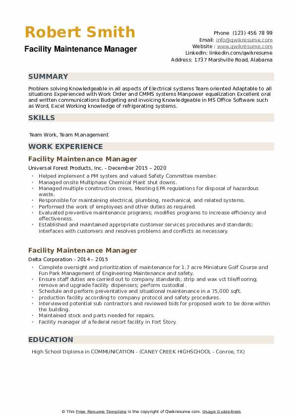 Facility Maintenance Manager Resume example