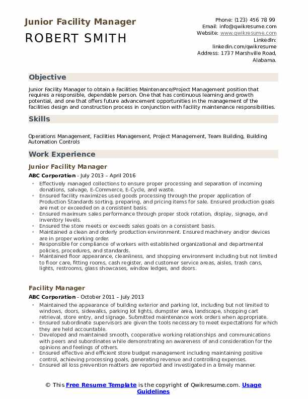 Facility Manager Resume Samples | QwikResume