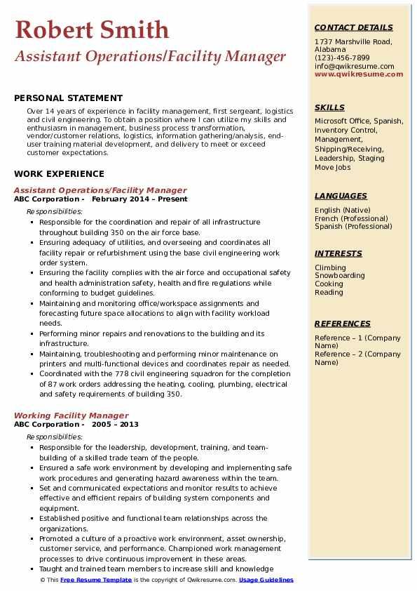 facility manager resume samples  qwikresume