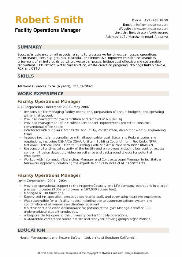 Facility Operations Manager Resume example