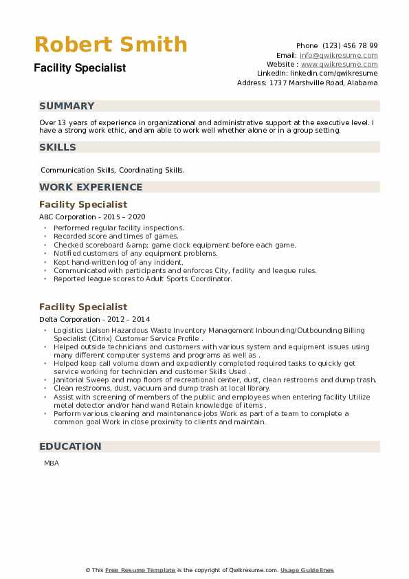 Facility Specialist Resume example