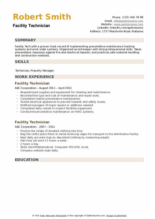 Facility Technician Resume example