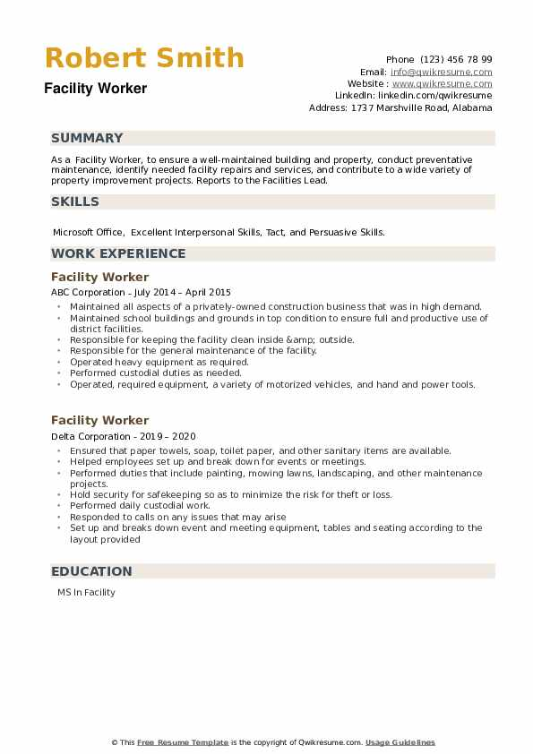 Facility Worker Resume example