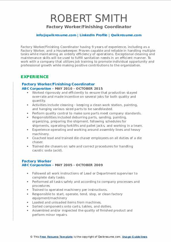 Factory Worker Resume Samples Qwikresume