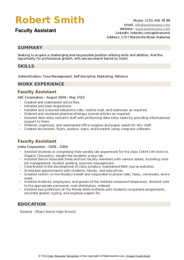 Faculty Assistant Resume example