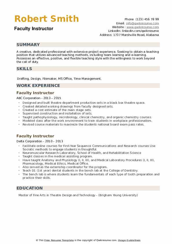 Faculty Instructor Resume example