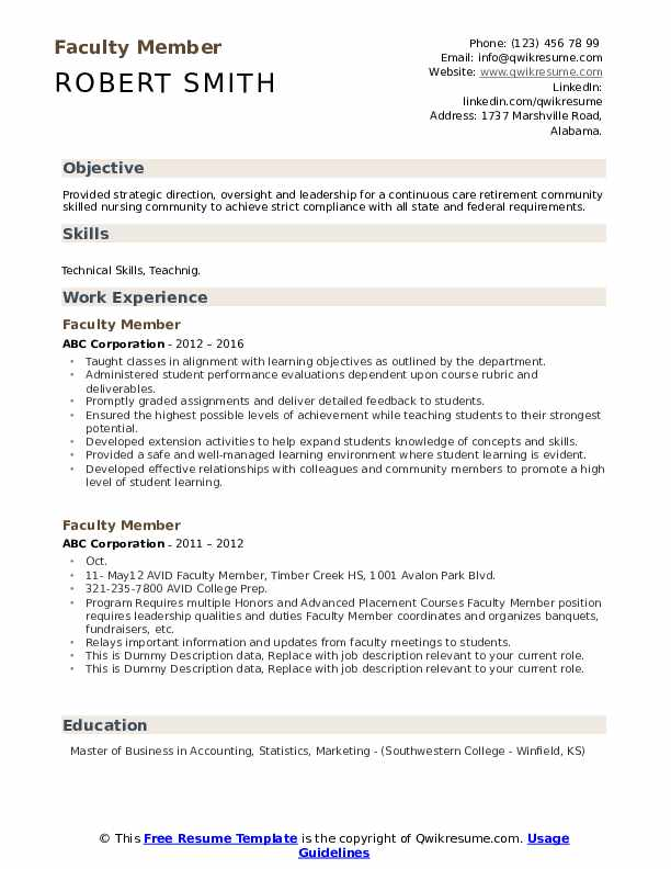 Faculty Member Resume example