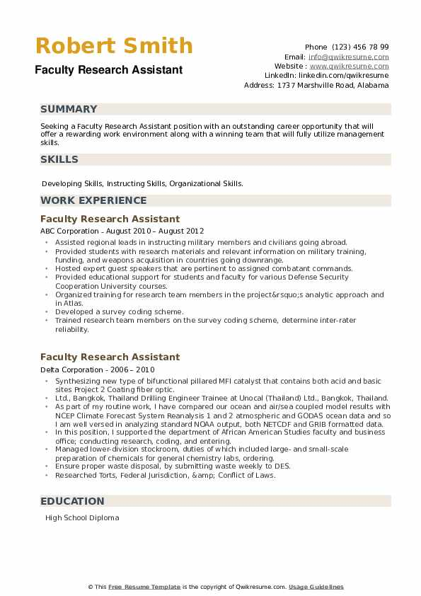 Faculty Research Assistant Resume example