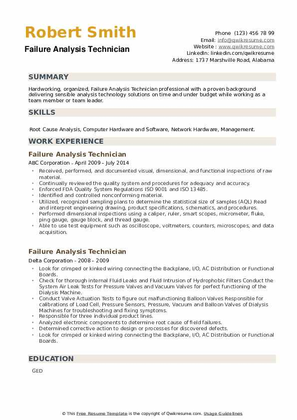Failure Analysis Technician Resume example