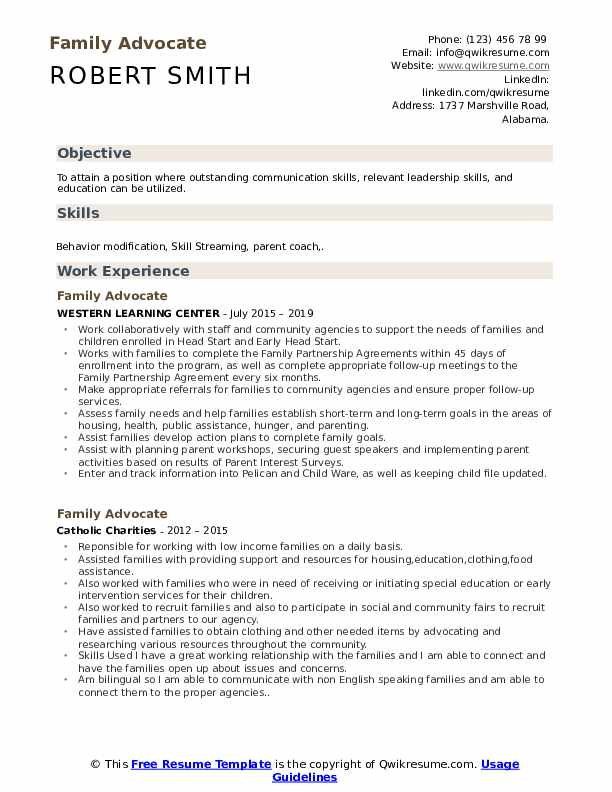 Family Advocate Resume Format