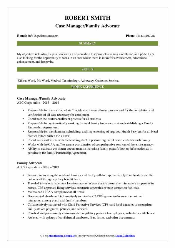 Case Manager/Family Advocate Resume Format
