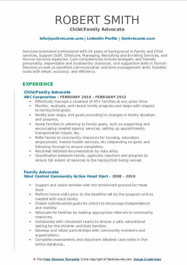 Child/Family Advocate Resume Sample