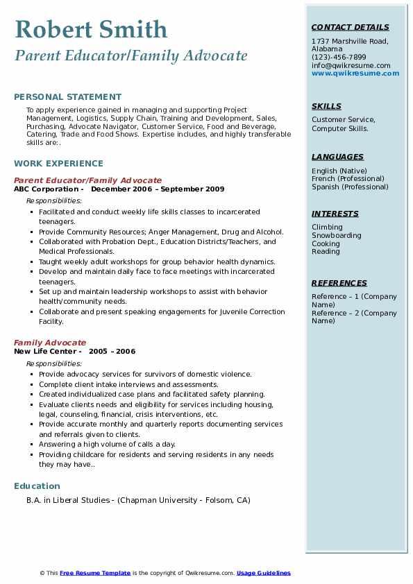 Parent Educator/Family Advocate Resume Example