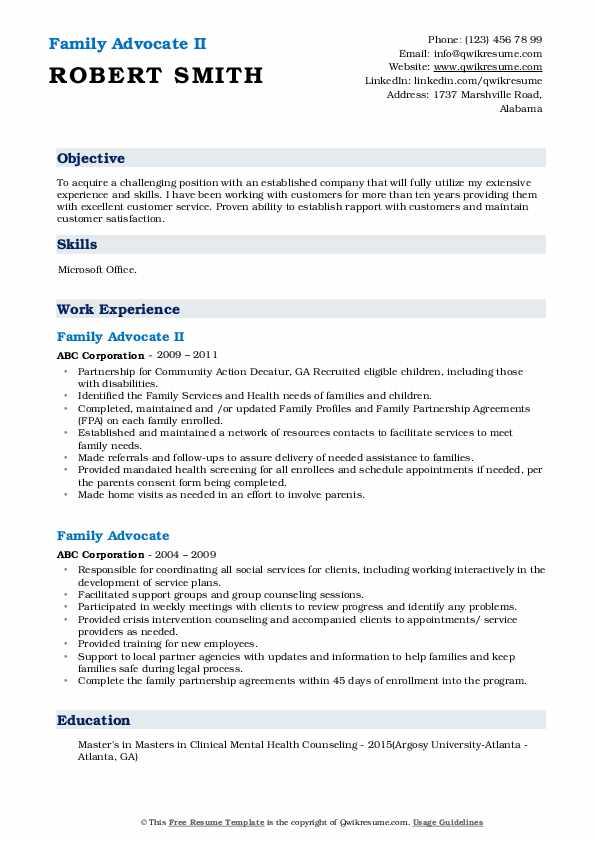 Family Advocate II Resume Template