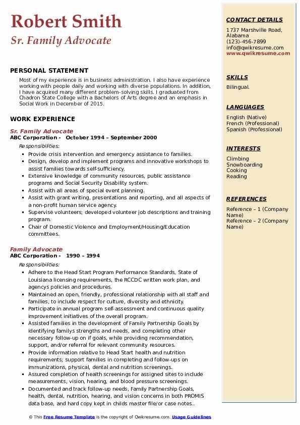 Sr. Family Advocate Resume Sample