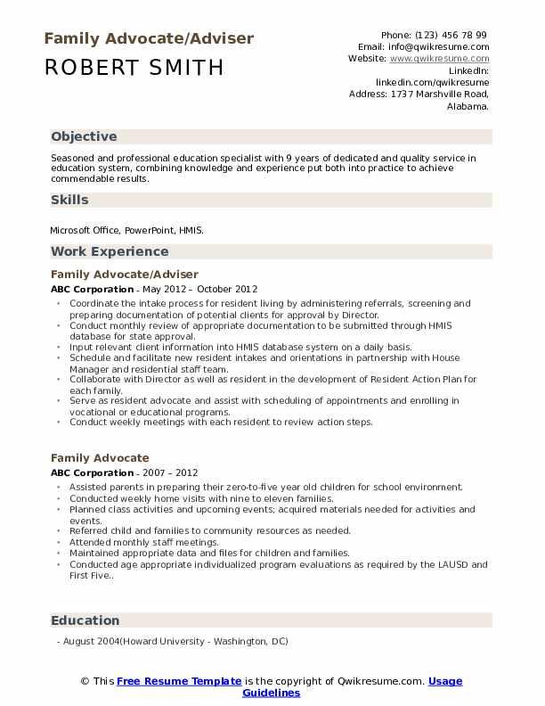 Family Advocate/Adviser Resume Example