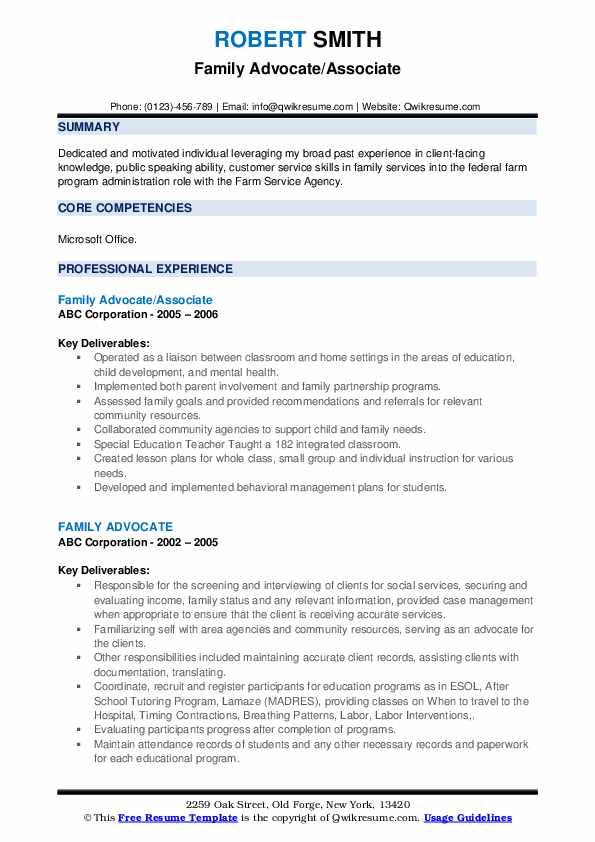 Family Advocate/Associate Resume Sample