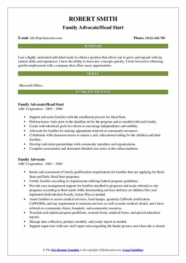 Family Advocate/Head Start Resume Template