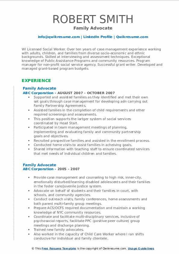 Family Advocate Resume example