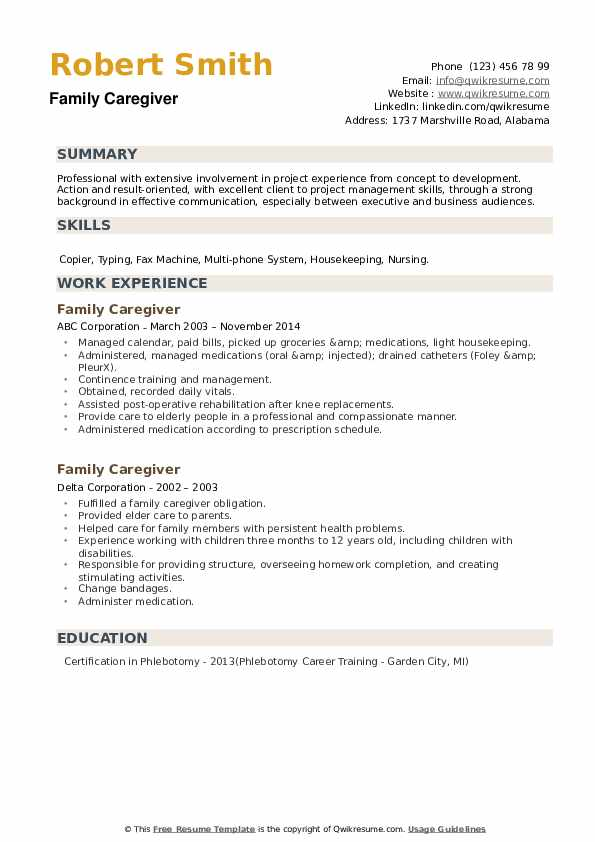 Family Caregiver Resume example