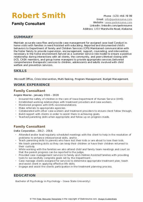 Family Consultant Resume example