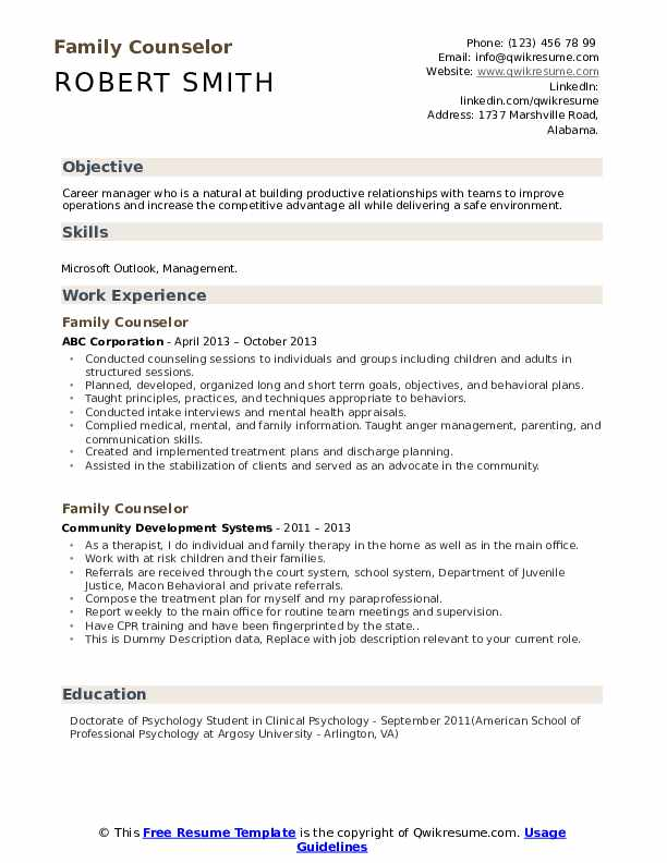 Family Counselor Resume example