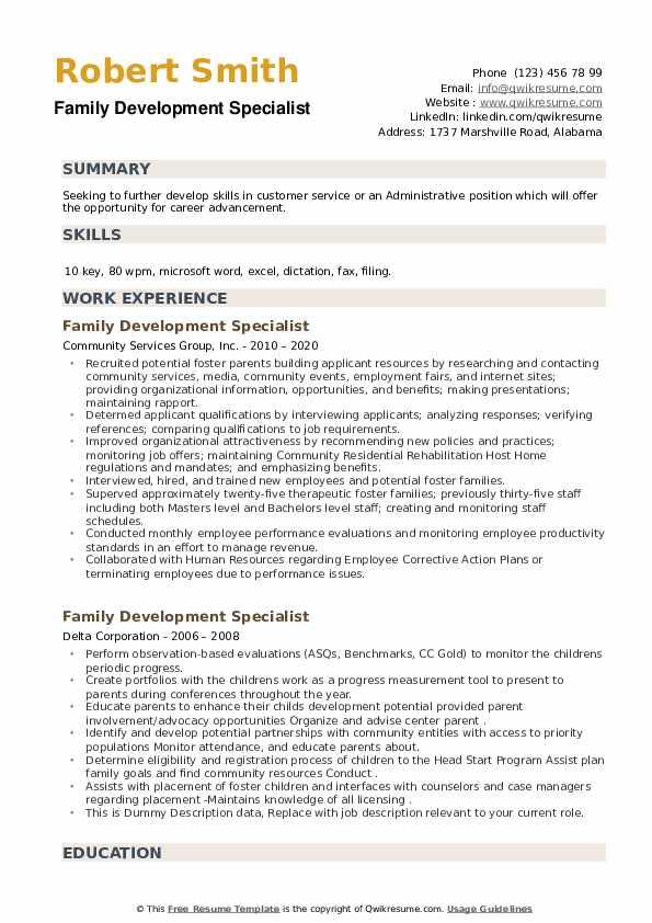 Family Development Specialist Resume example