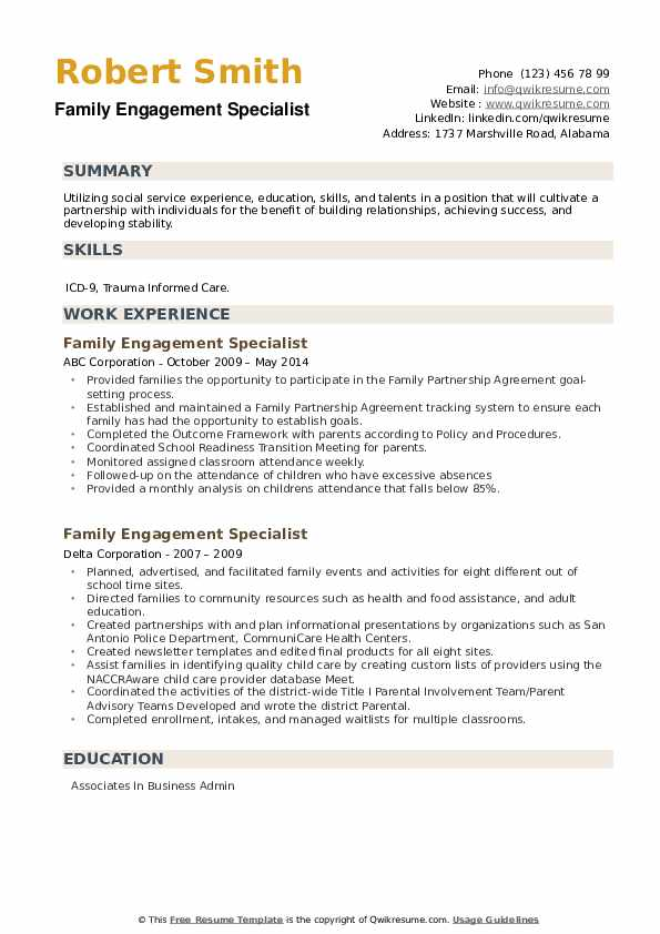 Family Engagement Specialist Resume example
