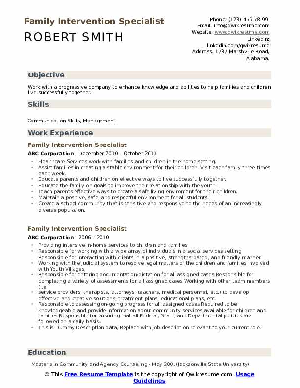 Family Intervention Specialist Resume example